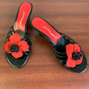 Cloud Walkers, black and red flower sandal heel